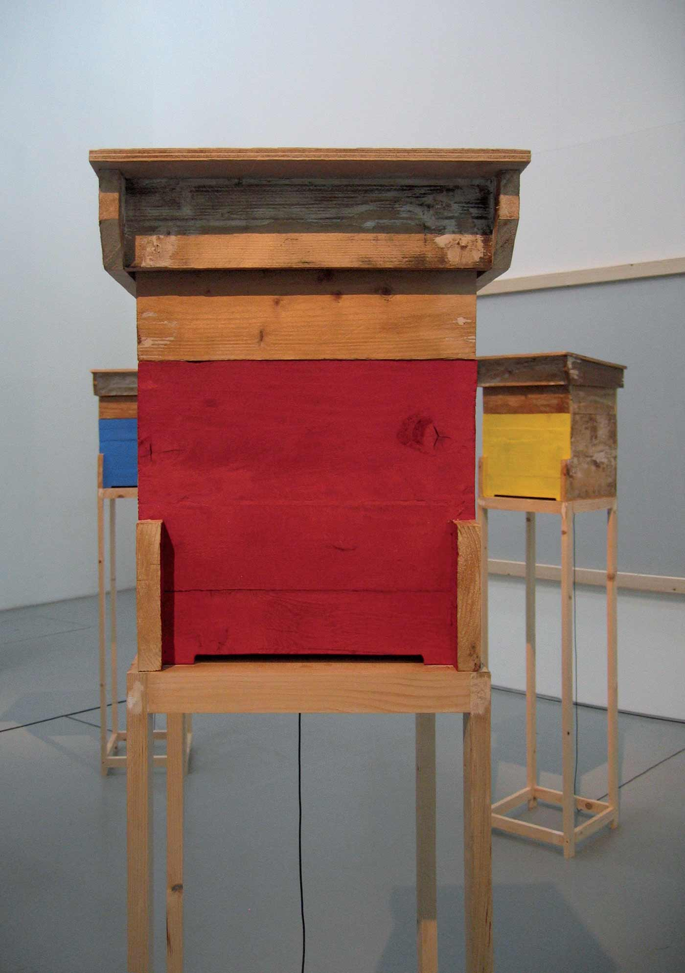 wood, sound equipment, drawings, natural pigments. 2008 Installation view Fondazione Pomodoro, Milano