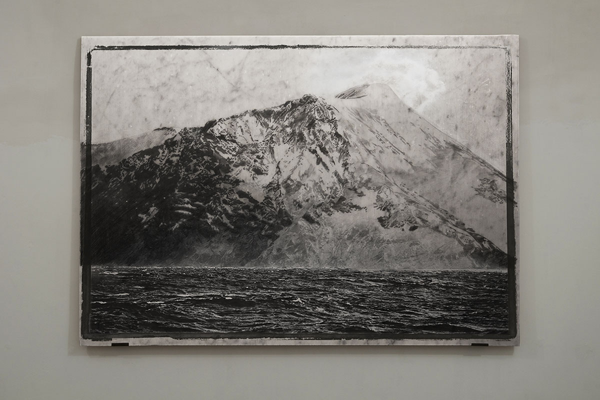graphite on marble, installation view
