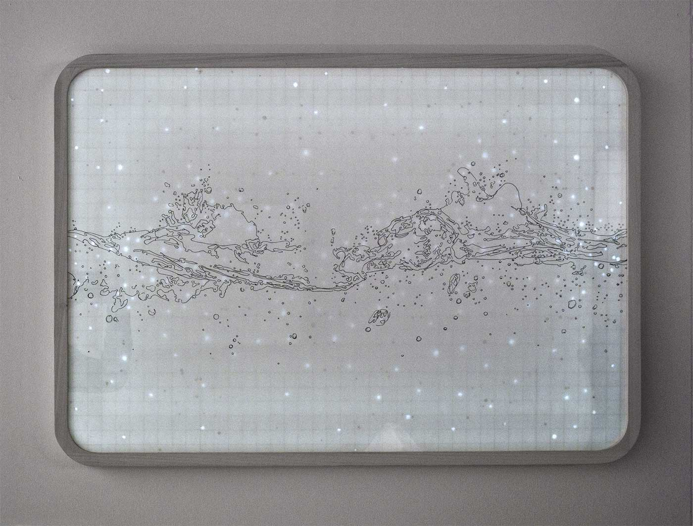 Light box, ink on paper, wood and glass, cm 83 x 59 x 5