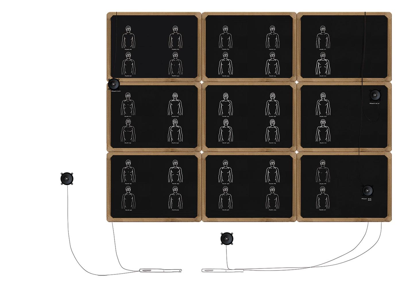slate, chalk, wood, audio equipment, size of boards cm 155 x 115 x 5. 2007