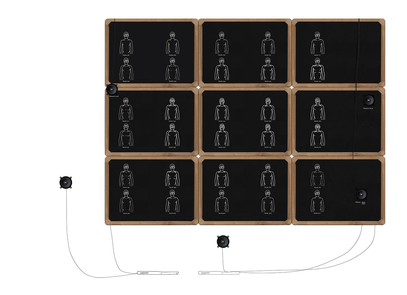 slate, chalk, wood, audio equipment size of boards cm 155 x 115 x 5. 2007