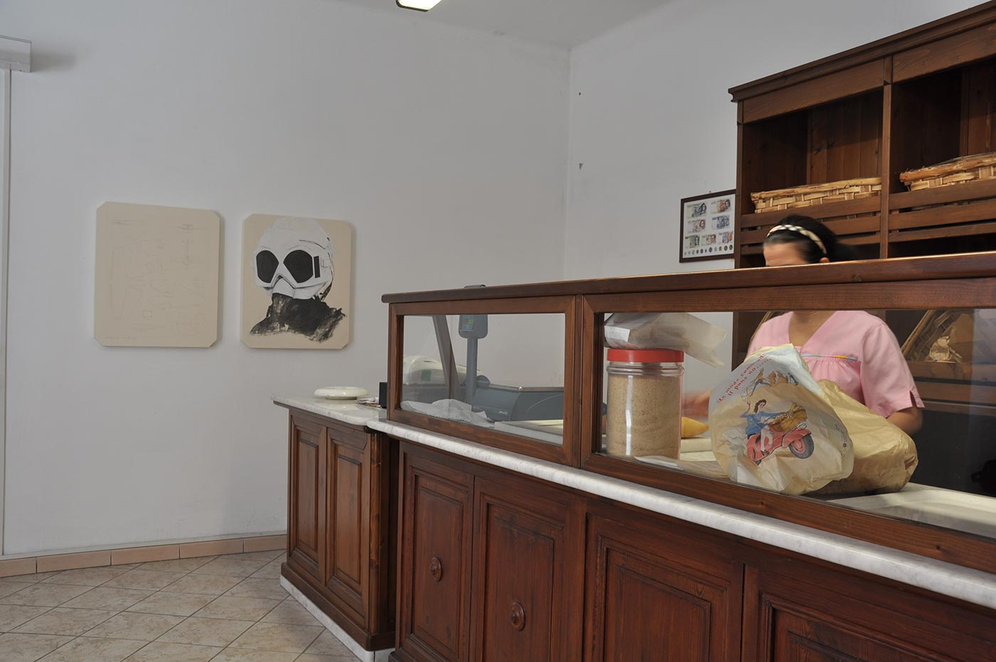 installation view inside the bakery of the town. 2011